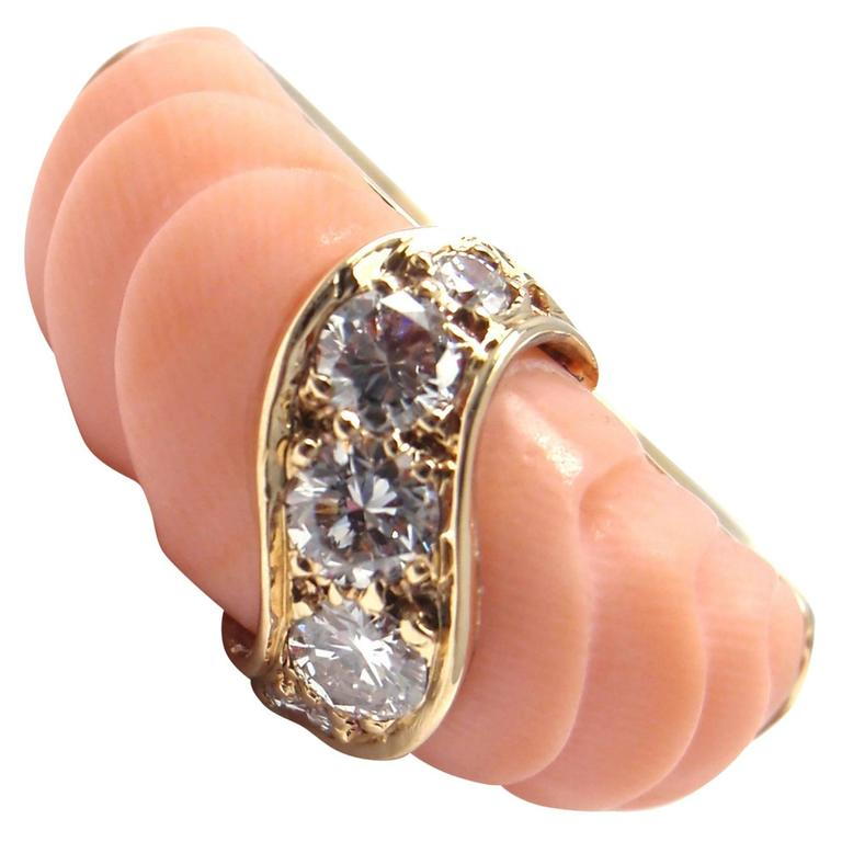 Van Cleef & Arpels Angel Skin Coral Diamond Gold Band Ring