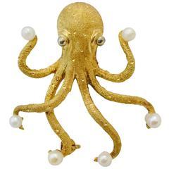 Pearl Gold Octopus Brooch