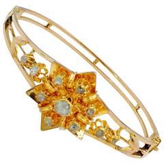 Antique Victorian Rose Cut Diamond Gold Bangle Bracelet
