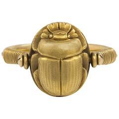 Art Deco Egyptian Revival Poison Swivel Scarab Motif Ring