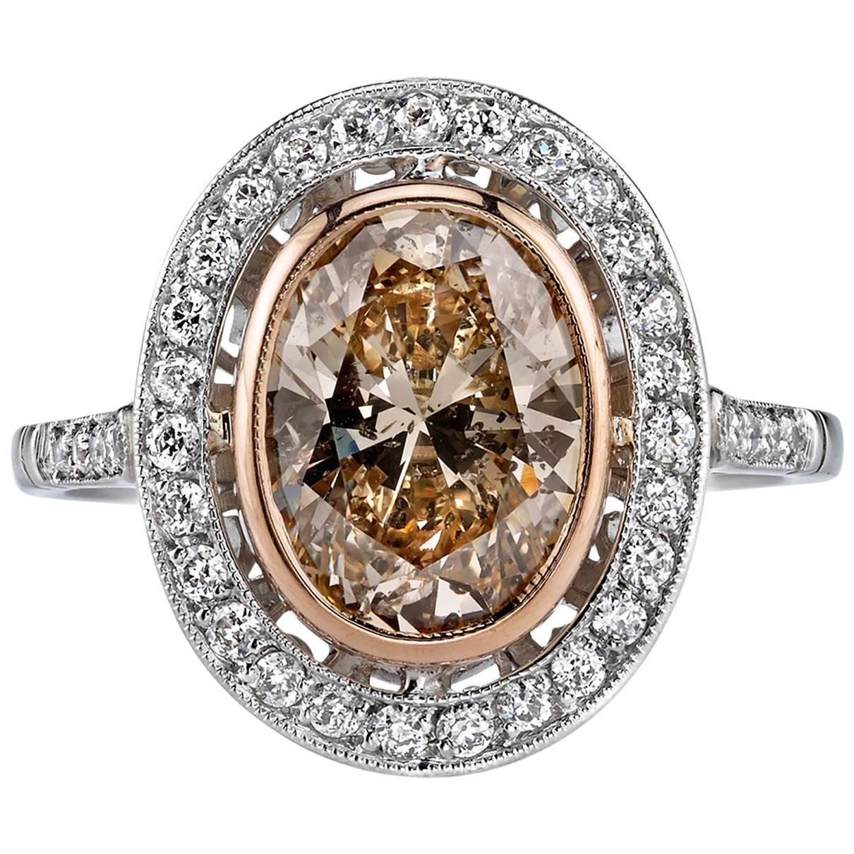 2 Carat Oval Diamond Gold Platinum Engagement Ring at 1stdibs