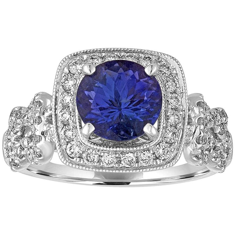 Tanzanite Round 1.59 Carat Diamond Halo Ring