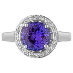 Tanzanite Round 2.00 Carat Diamond Halo Ring