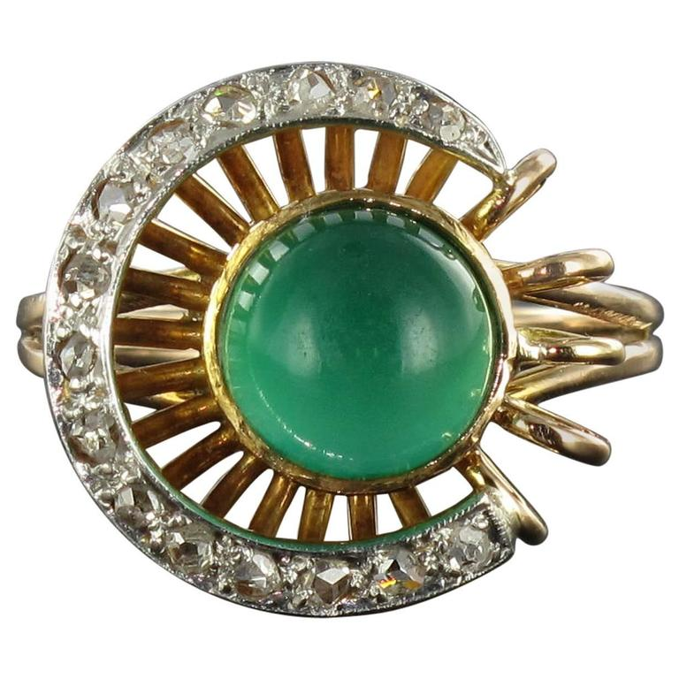 Original Green Agate and Diamond Ring 1