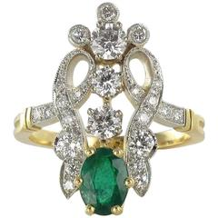 Emerald Diamond Gold Platinum Ring