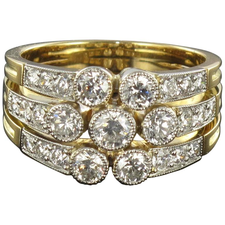 Superb Diamond Gold 3 Band Ring