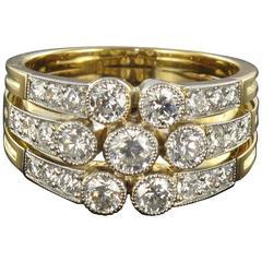 Superb Diamond Gold 3 Band Ring