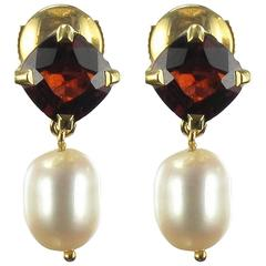 Garnet and Pearl Drop Earrings