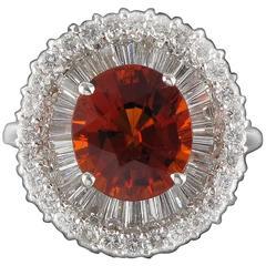 Incredible Spessartite Orange Garnet Diamond Gold Ring