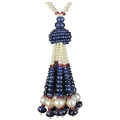 Sapphire Beads Cultured Pearls Tourmalines Beads Pompom Pendant Necklace