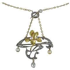 French Art Nouveau Fine Pearl Diamond Silver Gold Pendant Brooch