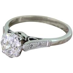Art Deco 1.45 Carat Old Cut Diamond Engagement Ring
