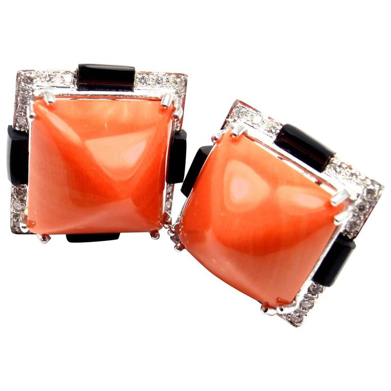Large Diamond Coral Onyx White Gold Earrings