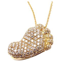 Pasquale Bruni Orme Footsteps Diamond Gold Foot Pendant Necklace