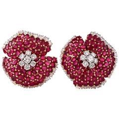1980s Stunning Ruby Diamond Gold Clip-Back Flower Earrings