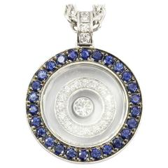 Chopard Happy Spirit Sapphire Floating Diamond Gold Necklace