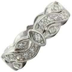 Art Deco Diamond Platinum Eternity Cigar Wedding Band