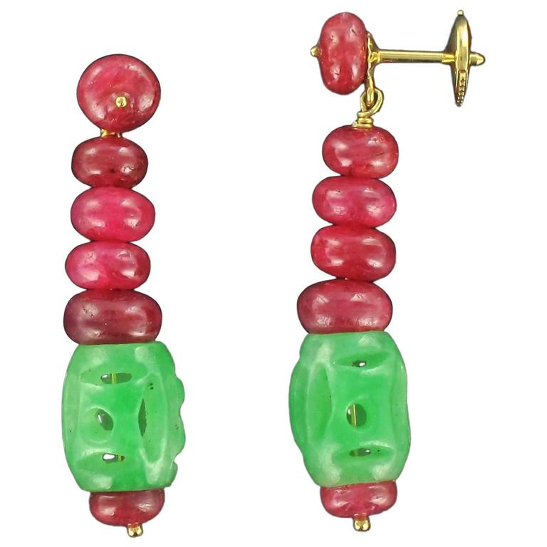 Baume Jade Ruby Gold Pendant Earrings