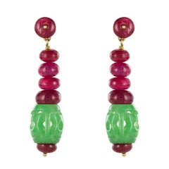 Baume Jade Ruby Gold Pendant Earrings