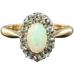 1850s Opal and Diamond Rose gold Ring