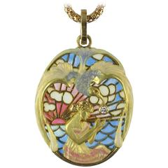 Art Nouveau Style Medallion Diamond Enamel Yellow Gold Pendant Necklace