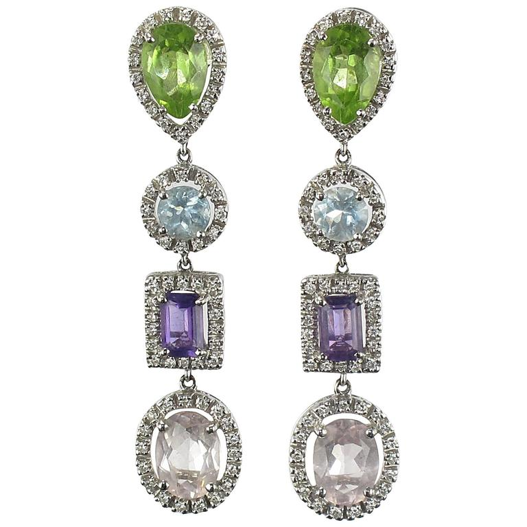 Diamond, Amethyst, Peridot, Aquamarine and Morganite Earrings