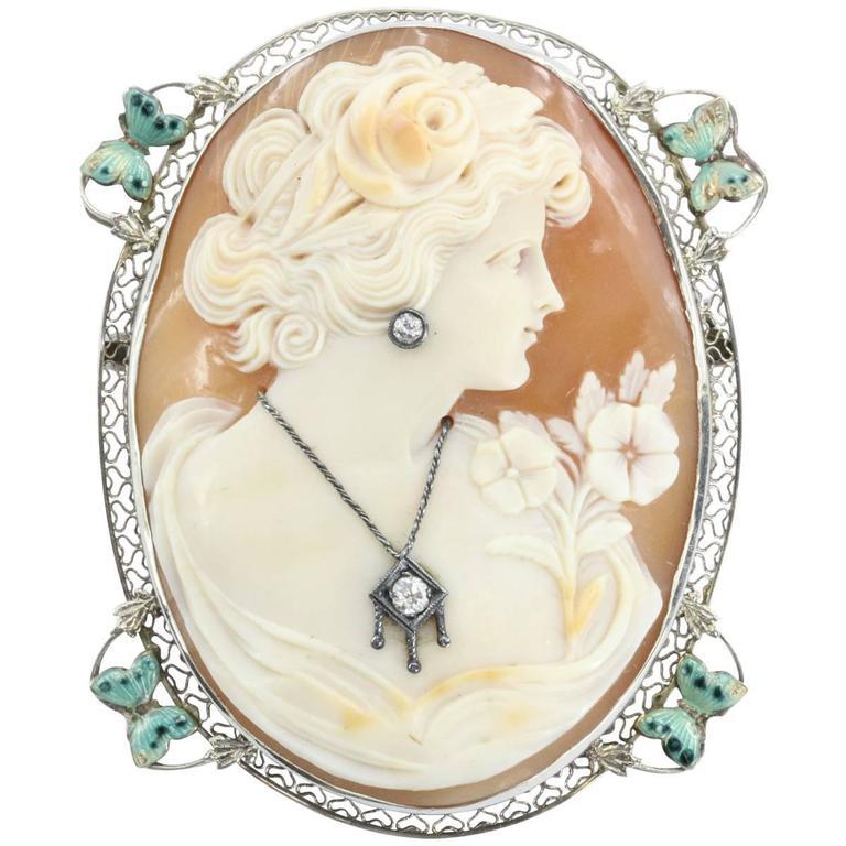 Antique Art Nouveau Habille Enamel Diamond Gold Butterfly Cameo