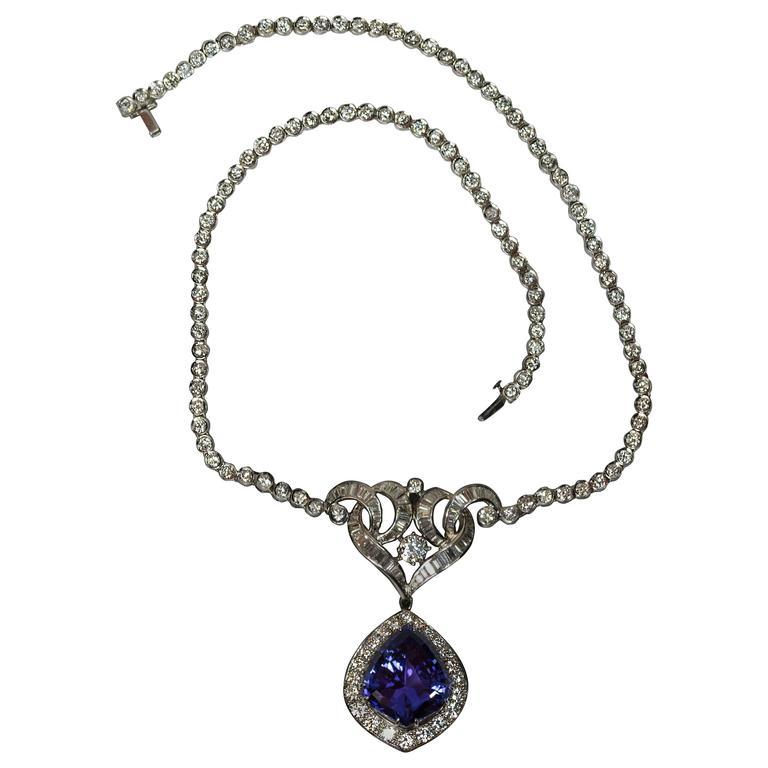 Tanzanite Drop Diamond Platinum Necklace