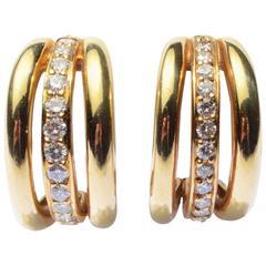 Robert Lee Morris Diamond Gold Triple Hoop Earrings