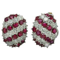 Ruby Diamond Platinum Earrings