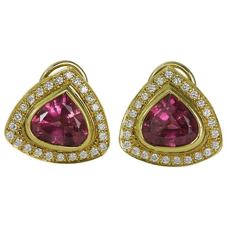 Pink Tourmaline Diamond Gold Earrings