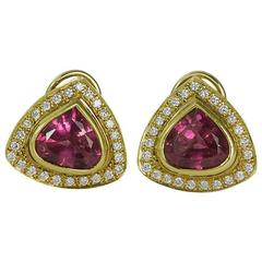 Pink Tourmaline Diamond Gold Earrings