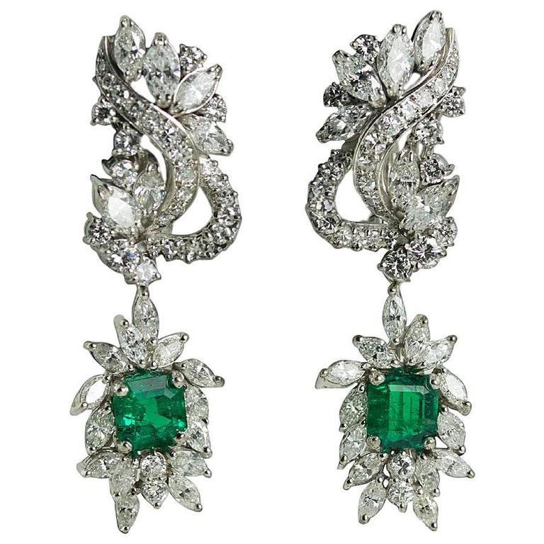 GIA certified Colombian Emerald Diamond Platinum Earrings