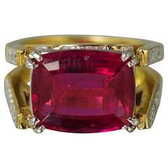 Picchiotti Rubelite Tourmaline Diamond Gold Ring