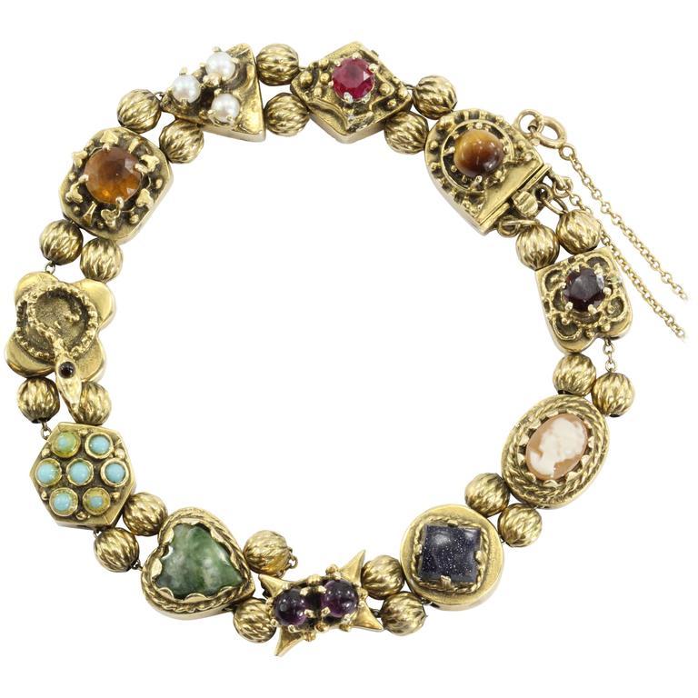 Slide Charms For Bracelets: Antique Victorian Figural Charm Slide Bracelet At 1stdibs