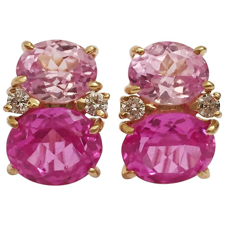 Medium Gum Drop Earrings With Pink Topaz And Diamond For