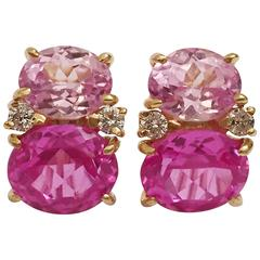 Medium GUM DROP™ Earrings  with Pink Topaz and Diamond