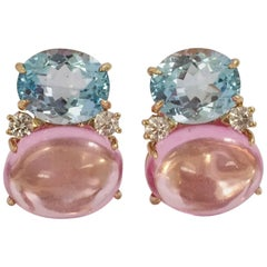 Large GUM DROP™ Earrings with Blue Topaz and Cabochon Pink Topaz and Diamonds