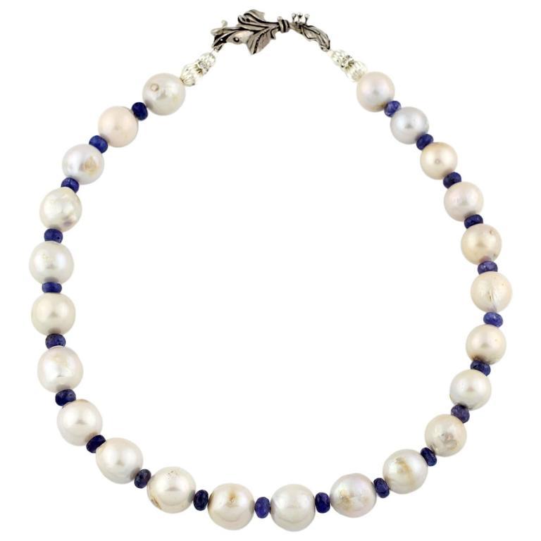 Pearl Tanzanite: Large White Tahitian Pearl Tanzanite Necklace At 1stdibs