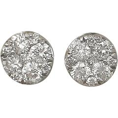 0.25Ct Diamond and 18k White Gold Stud Earrings - Vintage Circa 1990