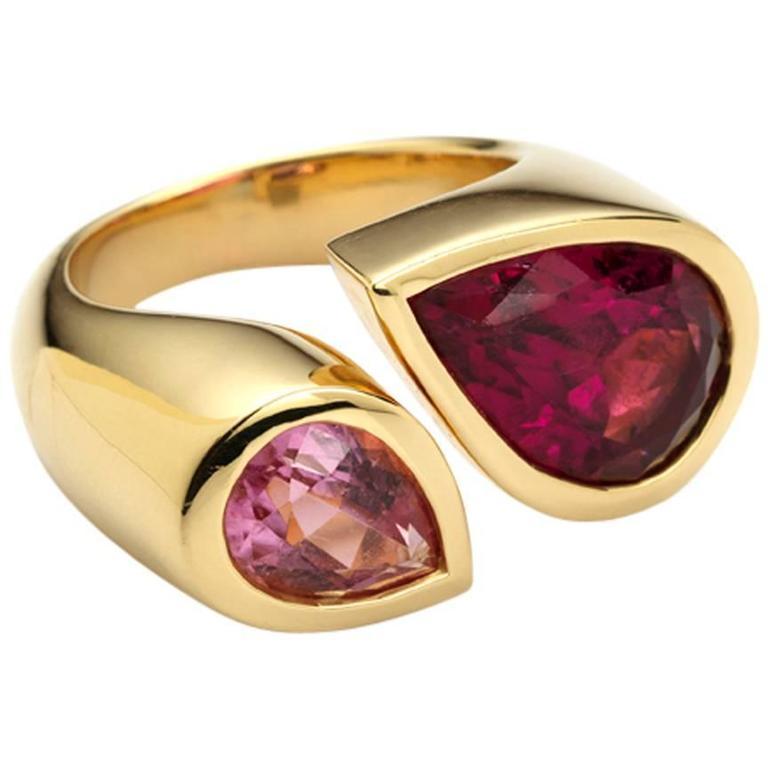 Deux Poires Pink Tourmaline Gold Ring 1