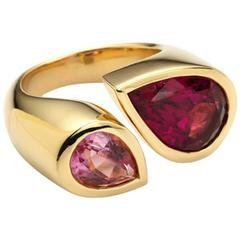 Deux Poires Pink Tourmaline Gold Ring