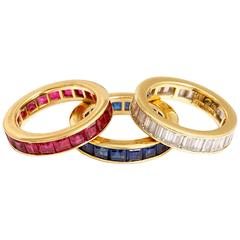 Ruby Sapphire Diamond gold Eternity Ring Set