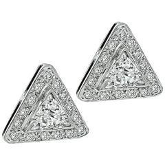 Enticing Triangle Cut Diamond Gold Earrings