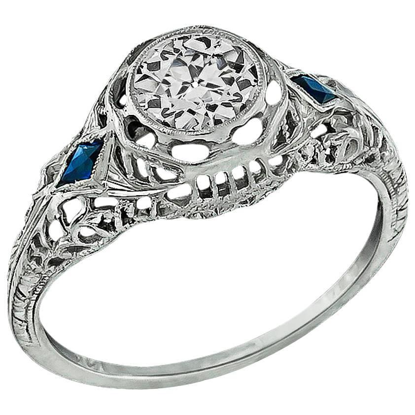 GIA Cert 0.63 Carat Diamond Sapphire Gold Engagement Ring
