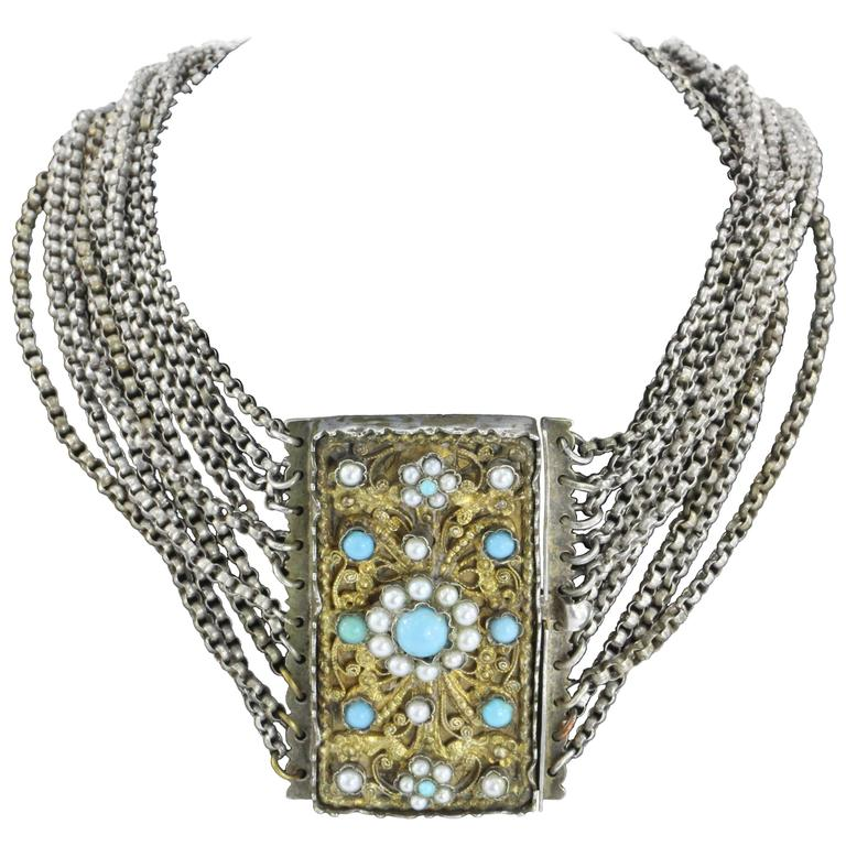 1840s Austrian Hungarian 13 Loth Silver Turquoise & Pearl Gilt Necklace