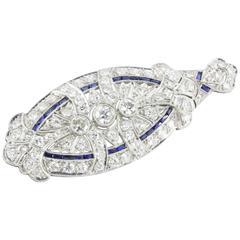 Edwardian Sapphire Diamond Platinum Convertible Pendant and Brooch