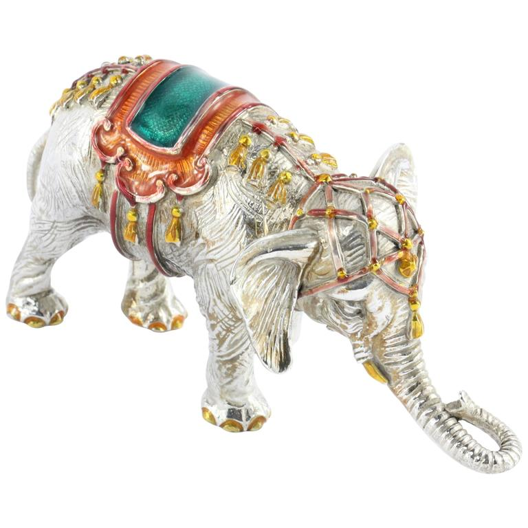 Tiffany & Co. Gene Moore Sterling Silver Enamel Circus Elephant, circa 1990 For Sale
