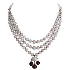 Marina J 3 strands of Graduated Pearl Necklace with Garnet and 14 k yellow gold