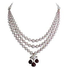 Pearl and Garnet Three Strand Bridal Necklace